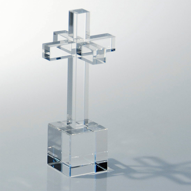 CRYSTAL CROSS RING HOLDER STAND